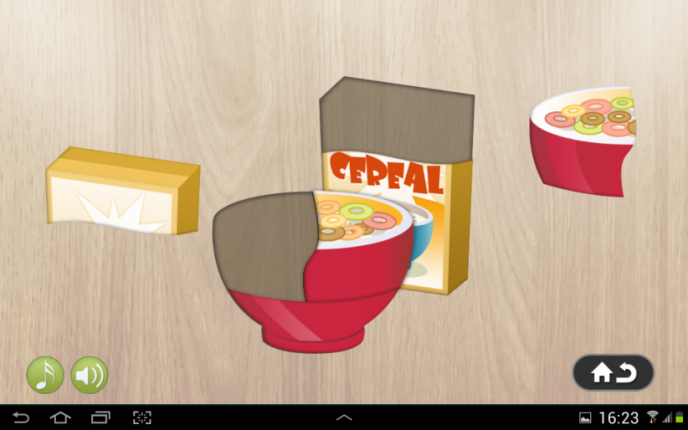 Application screenshot: 1 Puzzle 4 enfants - aliments