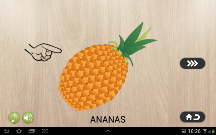 Application screenshot: 3 Puzzle 4 enfants - aliments