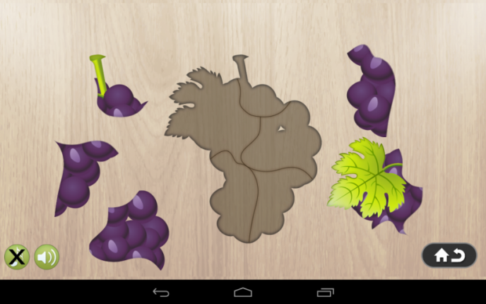 Application screenshot: 4 Puzzle 4 enfants - aliments
