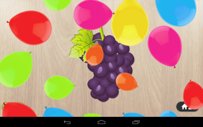 Application screenshot: 5 Puzzle 4 enfants - aliments