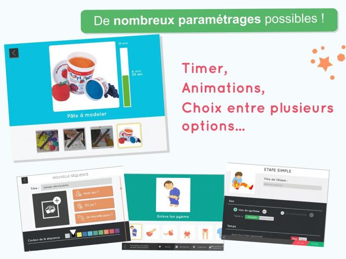 De nombreux paramétrages possibles : timers, animations, choix entre plusieurs options...