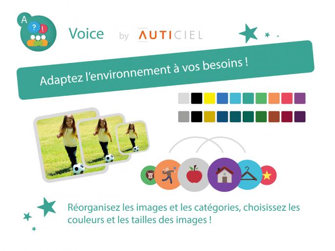 Adaptez l'environnement à vos besoins : réorganisez les images et les catégories, choisissez les couleurs et les tailles des images !